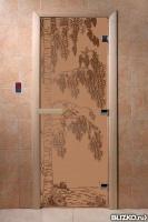 Дверь стеклянная бронза матовое Березка 1,9/0,7